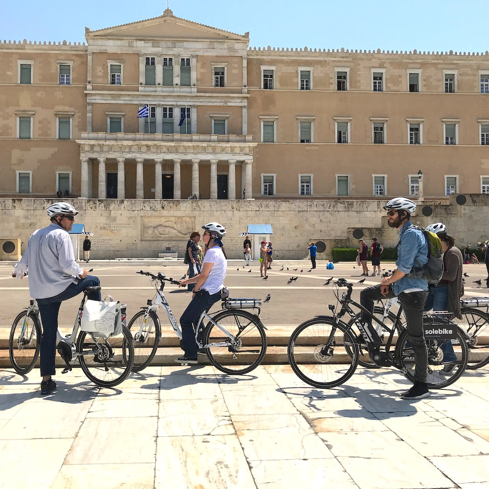 eBikes in front of Greek Parliament